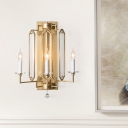 Gold 3 Bulbs Wall Lamp Countryside K9 Crystal Candelabra Wall Mount Light for Dining Room