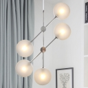 Textured White Glass Global Ceiling Chandelier Contemporary 5 Bulbs Suspended Lighting Fixture