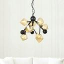 Metal Starburst Pendant Chandelier Modern 9 Bulbs Black Hanging Ceiling Light with Amber Glass Shade