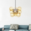 Contemporary Spherical Chandelier Light Amber Glass 9 Bulbs Living Room Pendant Lighting Fixture
