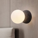 1 Head Living Room Wall Lamp Modernist Grey Sconce Light Fixture with Globe White Glass Shade