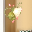 Scallop Bedroom Wall Light Sconce Countryside Opal White Glass 1 Head Green Wall Lighting Fixture