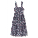 Cute Fancy Navy Sleeveless Button Down All Over Floral Printed Long Pleated Swing Cami Dress for Ladies