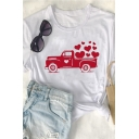 New Stylish Love Full of Truck Pattern Round Neck Short Sleeves Casual T-Shirt
