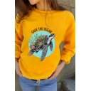 Cartoon Sea Turtle Letter SAVE THE OCEAN Long Sleeve Round Neck Pullover Sweatshirt