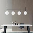 White Glass Ball Island Lighting Modernism 4 Heads Black Pendant Light Fixture for Dining Room