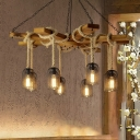 Wood 3/6/8 Lights Chandelier Lamp Industrial Style Metal Caged Ceiling Light Fixture with Rope