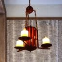 3 Lights Candle-Like Chandelier Light Fixture Vintage Dark Tan Metal Ceiling Lamp for Kitchen