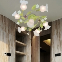 Scalloped Bedroom Semi-Flush Mount Traditional Opaque Glass 7 Bulbs Green Ceiling Light Fixture