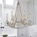 6 Lights Metal Chandelier Pendant Light Traditional Silver Candlestick Dining Room Ceiling Lamp