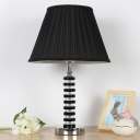 1 Light Crystal Nightstand Lamp Vintage Black Column Living Room Table Light with Fabric Pleated Lampshade