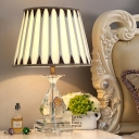 Vase Crystal Table Light Retro Single Bulb Bedroom Nightstand Lamp in White with Gathered Empire Shade