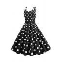 Girls' Cute Pretty Sleeveless Sweetheart Neck Polka Dot Printed Bow Tie Waist Long Pleated Swing Dress