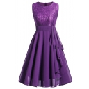 Retro Women's Sleeveless Round Neck Lace Patched Zipper Back Bi-Layer Plain Midi Pleated A-Line Dress
