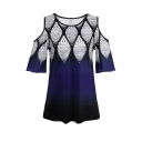 Navy Blue Casual Short Sleeve Cold Shoulder Floral Printed Ombre Loose Fit T Shirt for Women