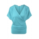 Trendy Plain Short Sleeve Surplice Neck Ruched Loose Fit Wrap T Shirt for Ladies