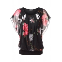 Female Pretty Bell Sleeve Round Neck All Over Floral Pattern Mesh Relaxed T Shirt