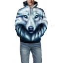 Unisex Stylish Wolf Face 3D Printed Long Sleeve Blue Drawstring Hoodie