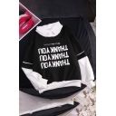 Cool Casual Girls' Long Sleeve Lapel Neck Letter THANK YOU False Two Piece Loose Pullover Sweatshirt