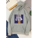 Funny Trendy Long Sleeve Drawstring Bunny Pattern Kangaroo Pocket Relaxed Hoodie for Girls