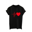 Simple Summer Short Sleeve Crew Neck ECG Pattern Fitted T Shirt for Women