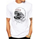 Men's White Casual Letter CCCP Dog Print Short Sleeves Round Neck Streetwear T-Shirt