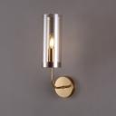 Cylindrical Wall Mount Lamp Retro Champagne/Light Blue Glass 1/2-Light Brass Sconce Light Fixture