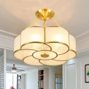 Floral Living Room Semi Flush Traditional Metal 4/6 Lights Ceiling Mount with White Curved Glass Shade, 18