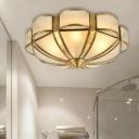 Antique Scalloped Flush Mount Lamp 3/4/6 Bulbs Metal Ceiling Mount Chandelier in Brass for Bedroom, 14