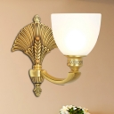 Metallic Gold Sconce Light Fixture Bowl 1/2-Light Traditional Style Wall Lamp with Frosted Glass Shade for Bedside