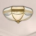 Gold 2/3/5 Lights Flushmount Light Vintage Milky Glass Bowl Ceiling Flush Mount for Corridor in Gold, 14