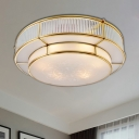 Brass 3/4 Lights Ceiling Mount Classic Frosted Glass Drum Flush Light Fixture for Corridor, 16