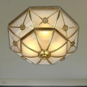 3/4/6 Lights Flush Ceiling Light Classic Domed Curved Frosted Glass Flush Mount Lighting in Brass for Bedroom