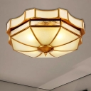 Bowl Curved Frosted Glass Flush Mount Lamp Classic 3/4 Lights Bedroom Ceiling Mounted Fixture in Brass, 14