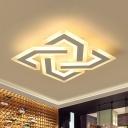 Acrylic Criss Cross Ceiling Lighting Contemporary White 18