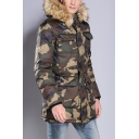 Mens Popular Camouflage Printed Long Sleeve Hidden Placket Tunic Parka Hooded Down Coat
