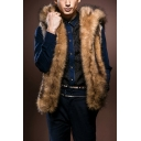New Stylish Brown Sleeveless Side Pocket Hooded Vest Soft Faux Fur Coat for Men