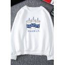 Japanese Letter HAPPY Drink Printed Long Sleeve Thick Loose Pullover Sweatshirt