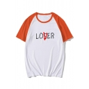 Awesome Loser Lover Printed Raglan Short Sleeve Round Neck Relaxed Fit Casual Tee