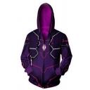 Mens Leisure Comic Anime Cosplay Costume 3D Printed Long Sleeve Zip Up Purple Hoodie