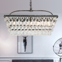 Rectangle Living Room Hanging Lamp Kit Traditional Teardrop Crystal 4/6 Heads Silver Chandelier Lighting