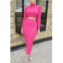 New Fashion Solid Color Long Sleeve Cropped Top with Maxi Skirt Two Piece Set