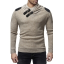 Men's Personality Leather Buckle Panel Collar Long Sleeve Fitted Pullover Sweater Knitwear
