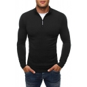 Mens Leisure Solid Color High Collar Long Sleeve Half Zip Placket Slim Fit Pullover Sweater