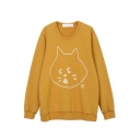 Popular Casual Long Sleeve Round Neck Kitty Pattern Oversize Pullover Sweatshirt for Women