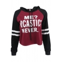 Fancy Letter ME SARCASTIC NEVER Print Striped Long Sleeve Cropped Drawstring Hoodie