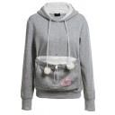 Womens Stylish Claw Pattern Pet Pouch Holder Pompom Drawstring Hoodie