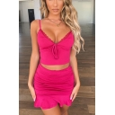 Rose Red Popular Solid Lace Panel V-Neck Tie Front Cami Top with Mini Ruffled Skirt Co-ords