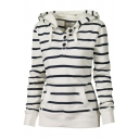 Popular Stripe Printed Button Front Long Sleeve Pouch Pocket Slim Fit White Casual Hoodie