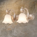 2/3 Lights Bathroom Vanity Wall Light Lodge Style Khaki Wall Sconce Lamp with Petal White Glass Shade